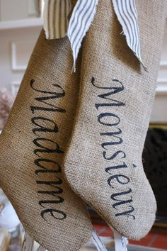 Mr. and Mrs. burlap stockings