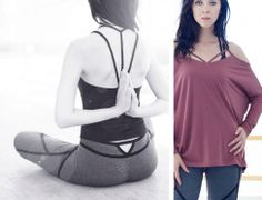 Alexandra Tank in Black, Willa Tight in Heather Charcoal/Black, and Bell Longsleeve in Smoky Rose. #karmawear #TidalReflection #clothingformovement #spring2014 #SS2014 #style #fashion #yogafashion