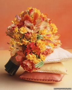 sweet bouquet with orange orchids