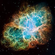 The Crab Nebula (M1, NGC 1952) is a supernova remnant and pulsar wind nebula in the constellation of Taurus. At the center of the nebula lies the Crab Pulsar, a neutron star 28–30 km across which emits pulses of radiation from gamma rays to radio waves with a spin rate of 30.2 times per second.