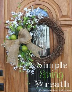 Simple Spring Wreath ~ love the apples and burlap!
