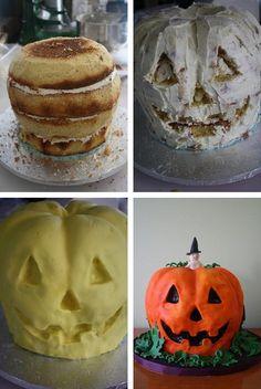 3D Halloween Pumpkin Cake Tutorial http://thecakebar.tumblr.com/post/62072118304/3d-halloween-pumpkin-cake-tutorial-you-must-click