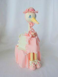 Stork cake topper. baby girl stork cake by ForeverSweetfavors, $45.00