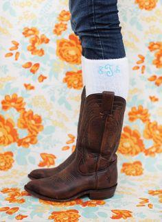 monogram boot socks