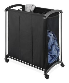 Black Three-Section Laundry Sorter