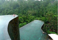 {Hanging infinity pools in Bali} This would probably be scary on some levels but I would like to see it!!!