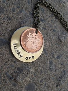 Hand Stamped Hidden Message Necklace  Lucky One by yohashlee, $18.00