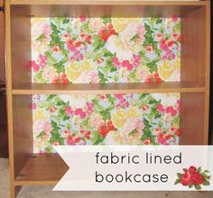 A great idea to dress up a bookcase from @Chrissy Boerman @ thePEARLblog - line it with @Waverly fabric! #waverize