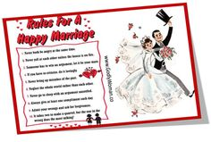 Rules for a Happy Marriage is a great message! Follow picture to read more and Re-Pin to bless others. Good day! <3