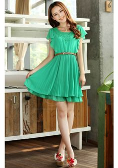 Crochet Lace Embellished Sold Color Chiffon Pleated Dress