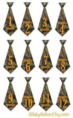 Baby camouflage monthly bodysuit camo iron on ties stickers on Etsy, $10.00