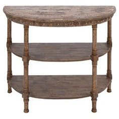 """Showcasing 3 tiers and a demilune silhouette, this classic console table is a perfect canvas for a vase of vibrant blooms or array of family photos.  Product: Console tableConstruction Material: Fir wood and engineered wood Color: BrownFeatures:  Three tiersDemilune silhouetteDimensions: 32"""" H x 36"""" W x 16"""" D"""