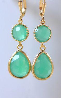 Palace Green Teardrop Gem Jewel Drop Earrings