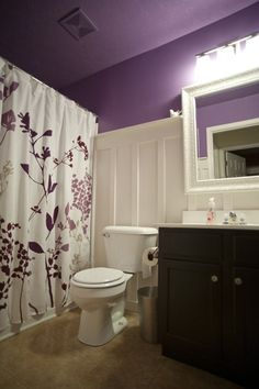board & batten in a purple bathroom