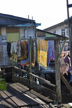 Laundry drying in the sun at a residence in the Kampong Ayer - Brunei