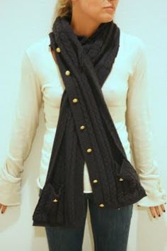 cardigan sweater refashion to pocketed scarf
