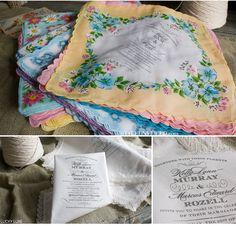 vintage handkerchief invitations