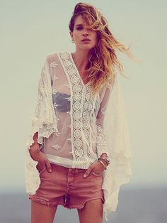 Free People Suzie Sheer Lace Poncho, $98.00