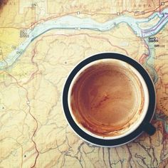 adventure awaits, mirror mirror, new adventures, maps, road trips, coffee cups, coffee time, travel, cup of coffee