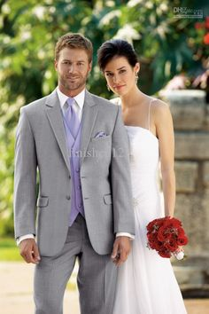 lavender and grey groomsmen attire  Wholesale Suits - Buy Light Grey Groom Tuxedos Wedding Bridegroom/Groomsman Suits (Jacket+Pants+Tie+vest) EFF:46, $134.09 | DHgate