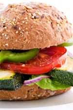 Mixed Vegetable Burgers (with coconut flour or almond meal, served on Paleo 2-min bread)