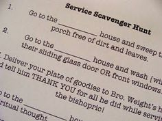 Marci Coombs: Service Scavenger Hunt {YW activity idea}.