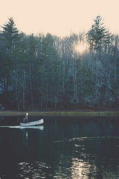 Mornings on the lake - canoe