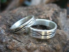 The Meeting Branch wedding Bands Set 6mm and 4mm by EyvindsAlchemy, $520.00