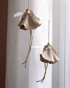 Simple angel linen ornaments