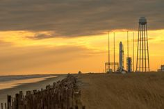 An Orbital Sciences Corporation Antares rocket is seen on launch Pad-0A at NASA's Wallops Flight Facility, Monday, Jan.6, 2014 in advance of...