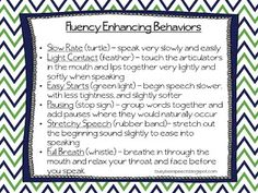 Speechie Freebies: Fluency Enhancing Behaviors (FEB) Freebie! Pinned by SOS Inc. Resources. Follow all our boards at pinterest.com/sostherapy for therapy resources.