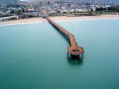 Really nice view of Ventura and the Pacific Ocean with pier.  The photographer says:  East winds today, expecting stormy weather. It never came. Light rain falling, camera hung from kite string, Ventura California.  by flying camera