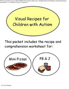 Visual Recipes for Children with Autism: PB & J and Mini Pizzas! {visual recipe and comprehension worksheet for Peanut Butter and Jelly Sandwiches and Mini Pizzas}