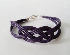 My DIY: Dark Violet Leather Sailor Knot Bracelet by starryday