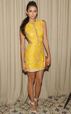 Nina Dobrev looks UNREAL in a sunshine-y Julien McDonald mini at our own #CosmoSummerBash.