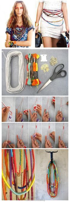 My Loving DIY for you ~ Repin to Love me! color, collar, diy necklace, ropes, necklaces, diy bracelet, friendship bracelets, embroidery, crafts