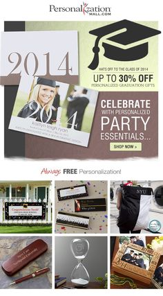 PersonalizationMall is having a Graduation Sale! Their Personalized Graduation Gifts and Grad Party Accessories and decorations are on sale up to 30% off! This place has the best stuff - personalized candy bar wrappers, party banners, invites, thank yous, plus gift ideas for high school and college grads! #Graduation #GradGifts