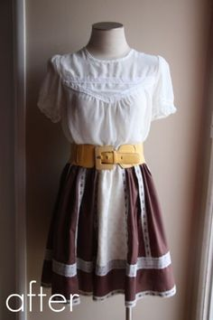 Upcycle & shorten skirts with great hem details by shortening at the waist. I have a ton of gypsy long skirts to update.