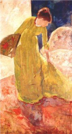 Woman Standing, Holding a Fan - Mary Cassatt