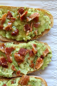 Avocado-Bacon Toast. Eat this for breakfast, an afternoon snack or a party appetizer.