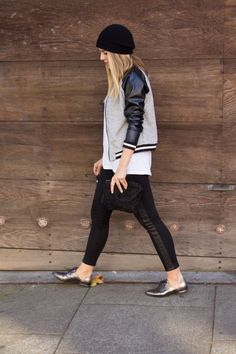 Oui Oui Oui @Julia Engel in @Faith Hudson Jeans Leeloo with quilted leather tux stripe!