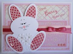 handmade Easter card from Luv 2 Scrap n' Make Cards ... pinks and white ... punch art bunny made from ovals ... coordinating patterned papers ... cute card!!