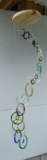 RECYCLED bottles made into windchimes