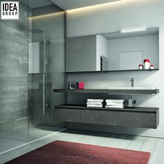 The volume of the sunken washbasin interrupts the rigorous of countertops and adds a fierce style to the composition. #Ideagroup #Design #MadeinItaly