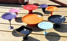 Make cake stands by spray painting mismatched plates and stemware.