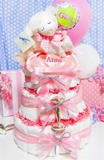 All Diaper Cakes - Sweet Lamb 3 Tier Diaper Cake-Girl, $79.95 (http://alldiapercakes.com/sweet-lamb-3-tier-diaper-cake-girl/)