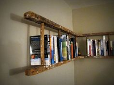 Upcycled ladder transformed into a corner bookshelf. Ingenious!
