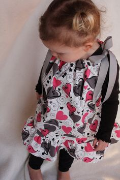 Gray and pink Valentine's Day pillowcase dress.  If only I could sew!