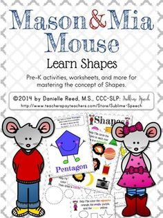 New Pre-K series: Mason & Mia Mouse. Shapes is now available on the @SublimeSpeech TpT site. #SLPeeps #SLP2b #PreK #EI