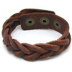 Brown Leather Cross Weave Bracelet Adjustable 112S by sevenvsxiao, $5.00